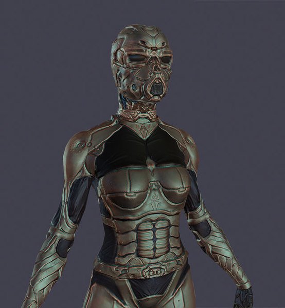 3D futuristic female character model