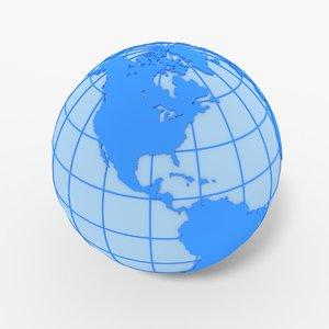 globe meridians continents 3D model