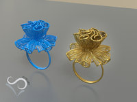 golden flower ring 3D print model