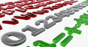 letters digits symbols 3D