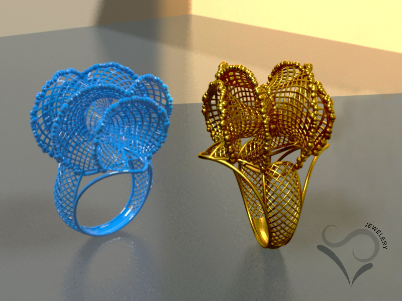 3D engagement golden ring print