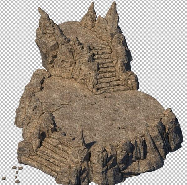 3D cave rock mountain