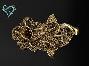 golden ring print jewelry 3D model