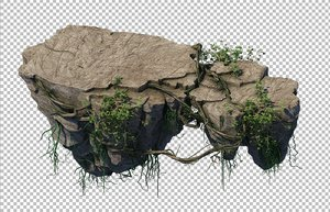 3D cave rock mountain