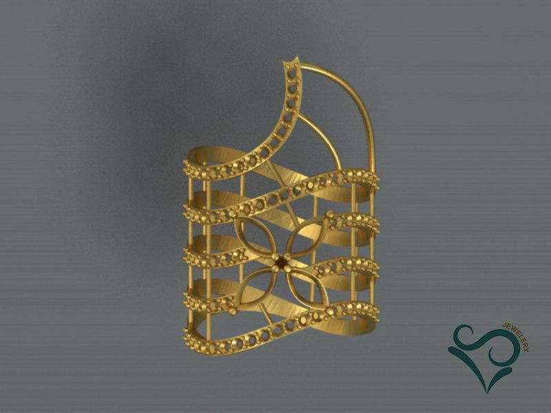 golden ring stone print 3D model