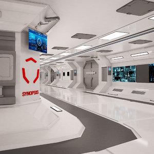 3D sci-fi spaceship corridor model