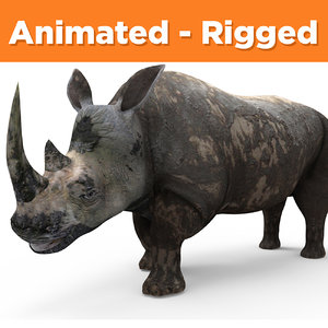 realistic rhino rigged animation 3D