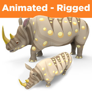 3D rhino rigged animation model