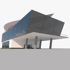 3D modern glass shoping mall model