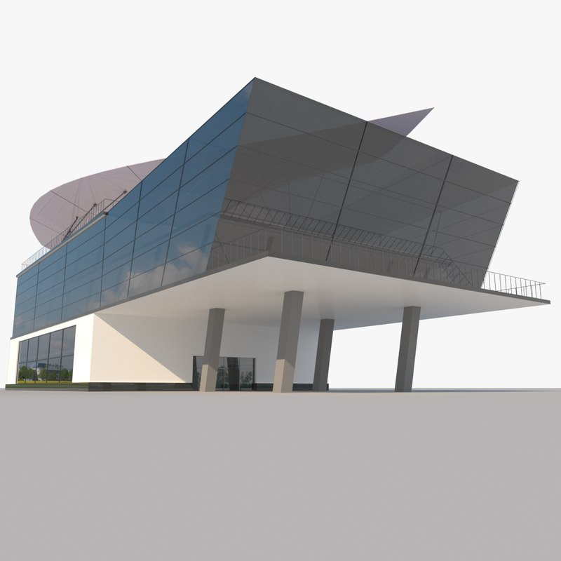 3D modern glass shoping mall model