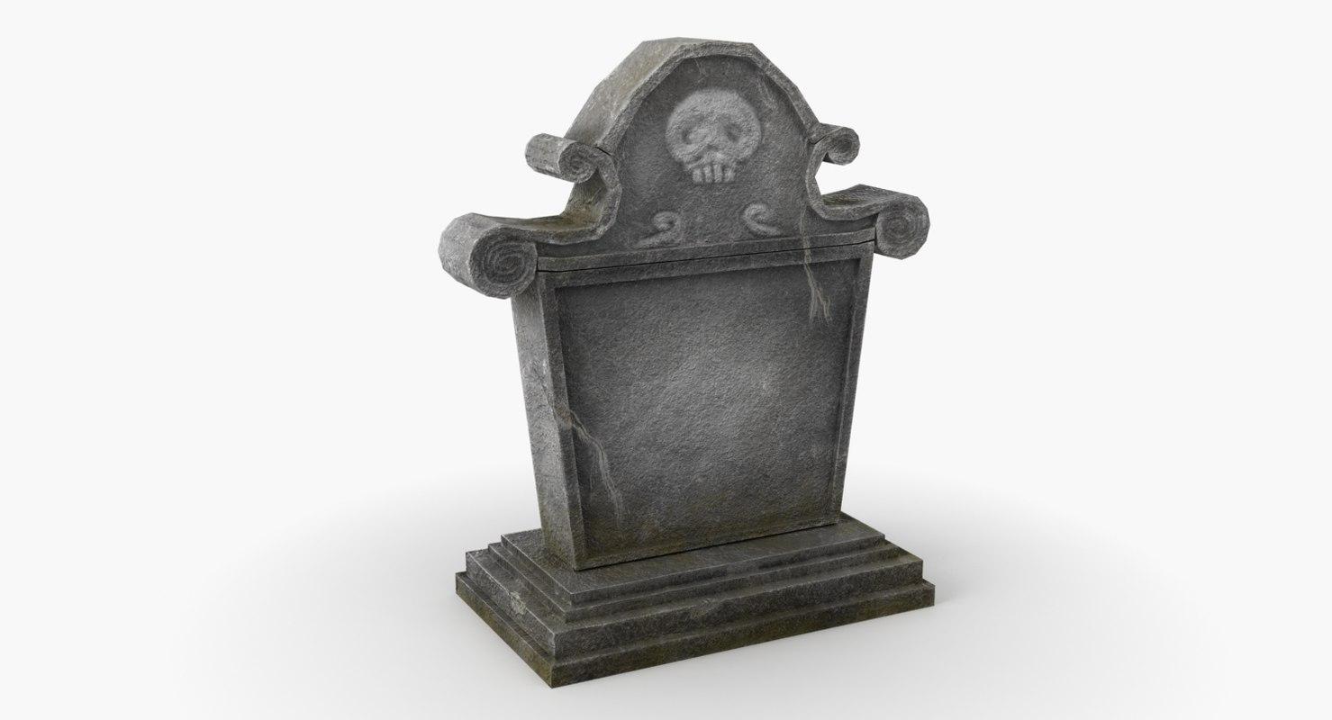 3D model tombstone tomb stone