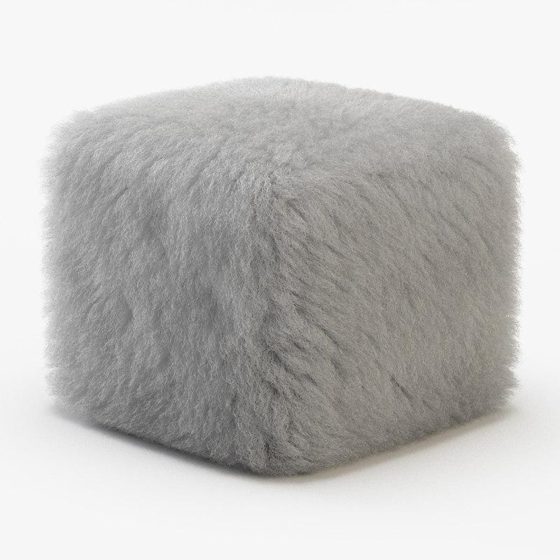 3D wool ottoman fur