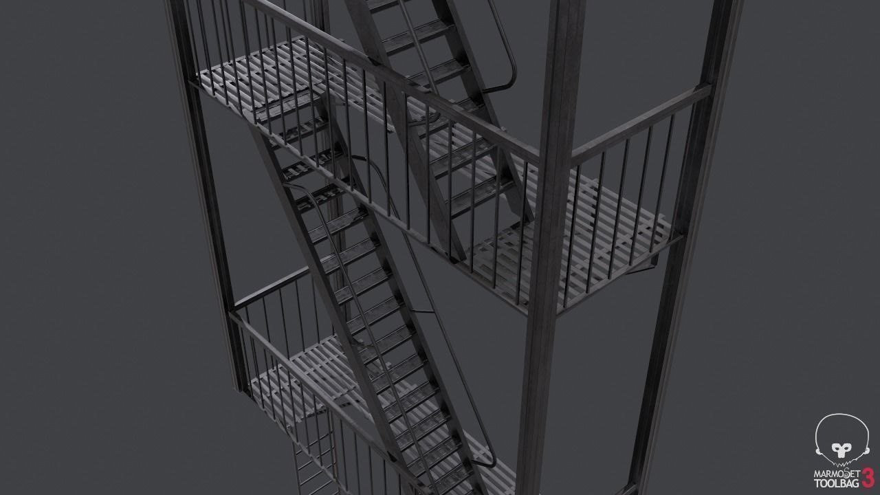 escape stairs 3D model