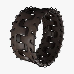 3D model leather bracelet brown