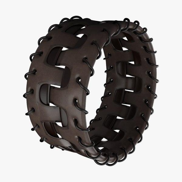 3D model leather bracelet brown