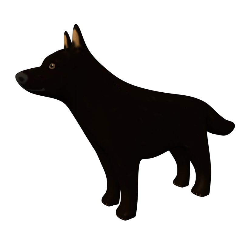 3D model german shepherd dog figurine
