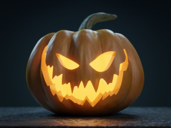 3D halloween jack-o-lantern pumpkin model