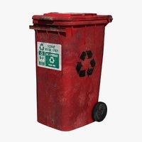 trash bin metal 3D