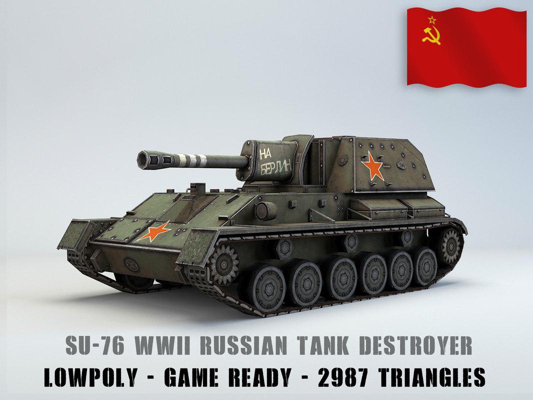 su-76 tank destroyer 76 3D model