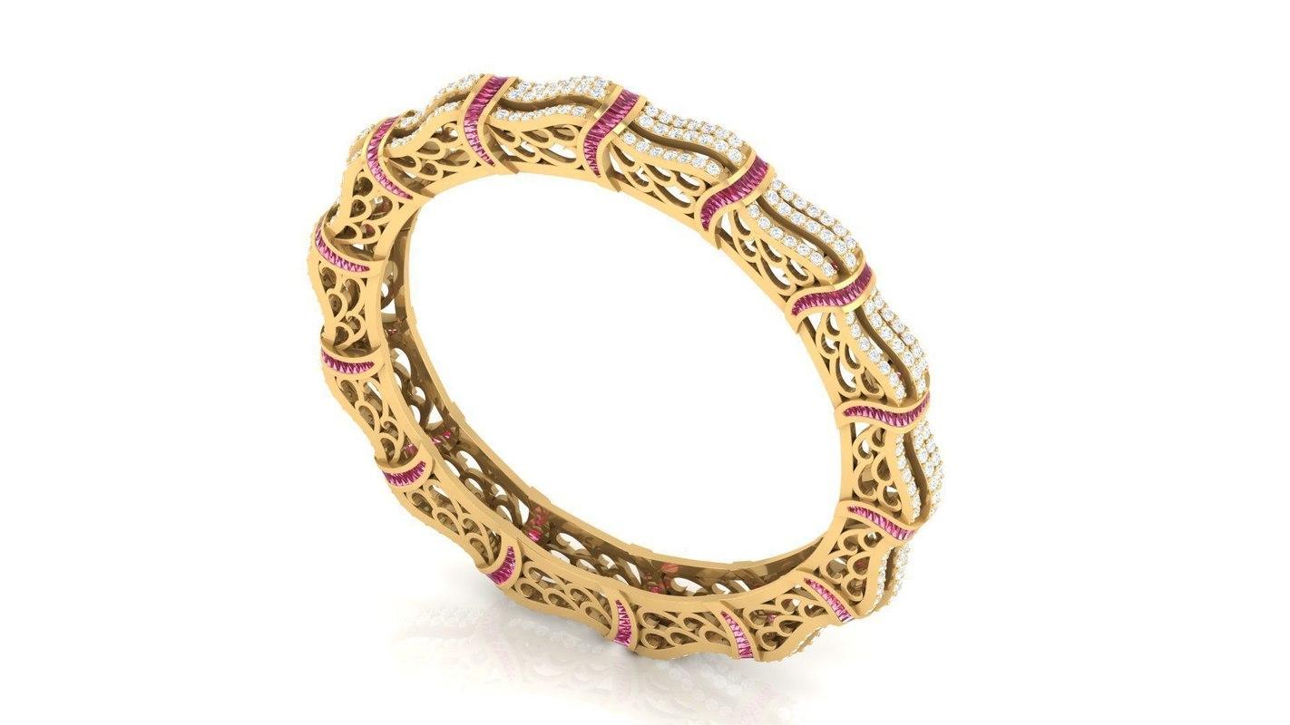 3D beautiful stylish diamond bangles model