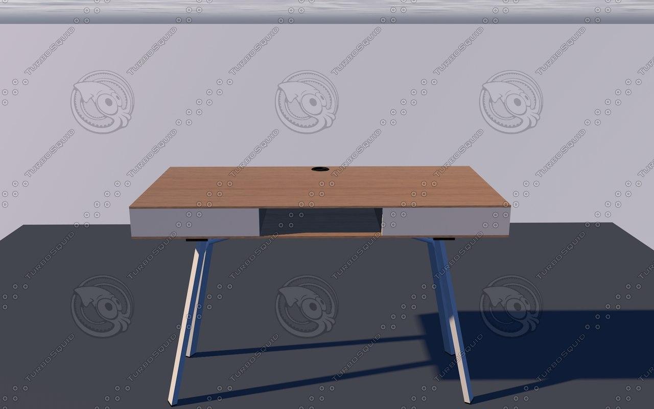 stir office desk oak 3D model
