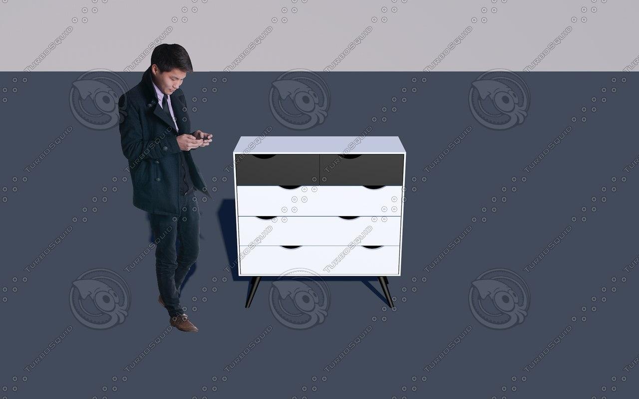 tvilum diana 5-drawer chest 3D model