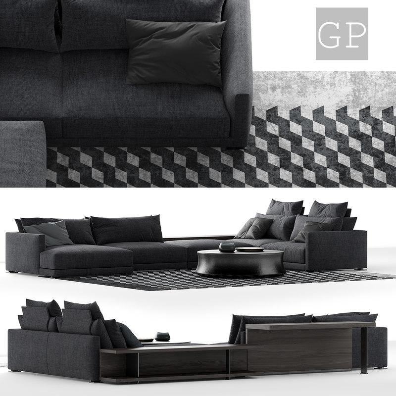 3D poliform bristol sofa composition model