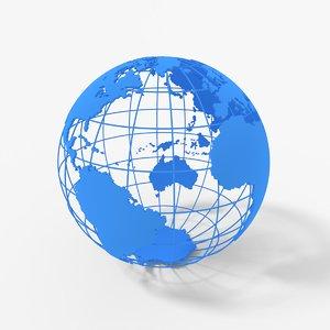 globe meridians continents 3D