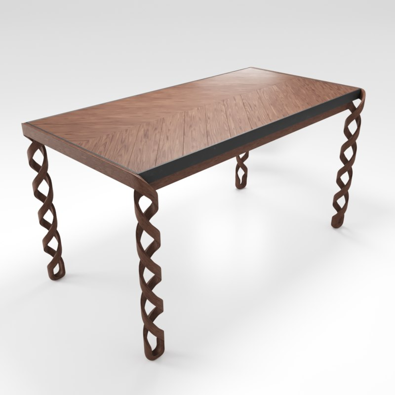 wooden dinner table 3D model