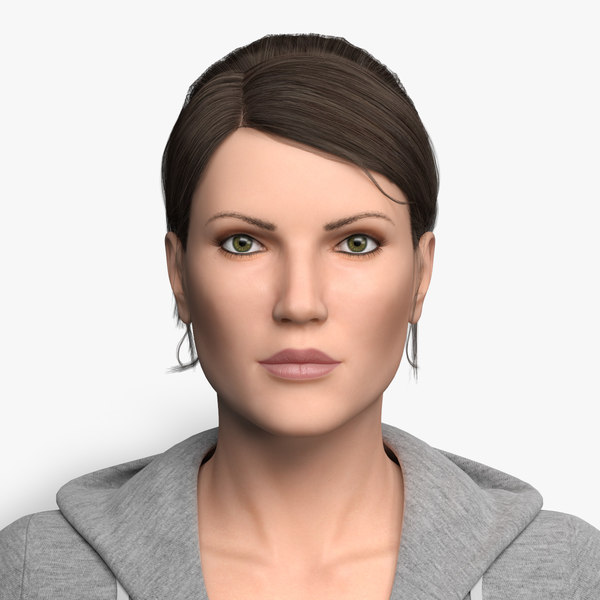 rigged sports woman character model