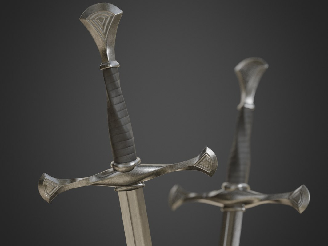 3D model sword long medieval