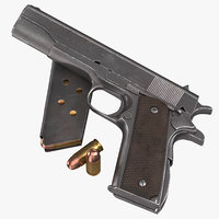 Colt M1911 Pistol Magazine and Bullets