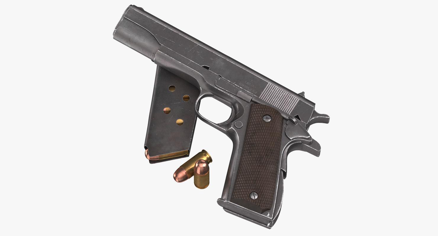 3D colt m1911 magazine bullets