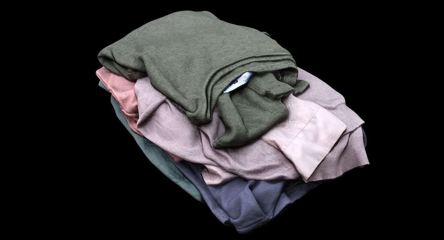 retopology pile clothes 3D model