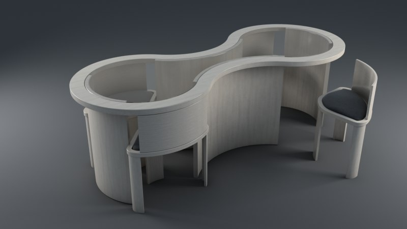 artistic table chair 3D model
