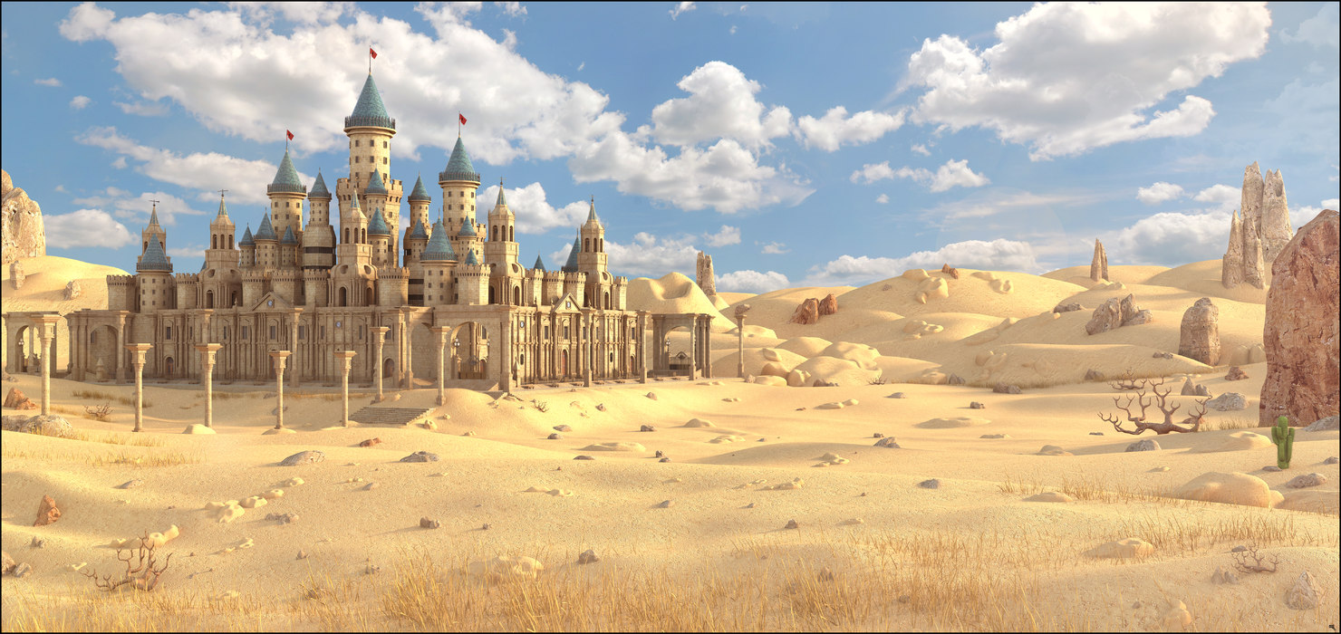 castle fantasy desert 3D