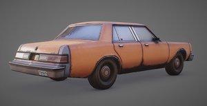3D 1980s sedan