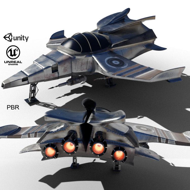 3D war airplane spaceship model