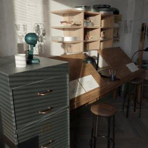 office interior animation studio 3D model