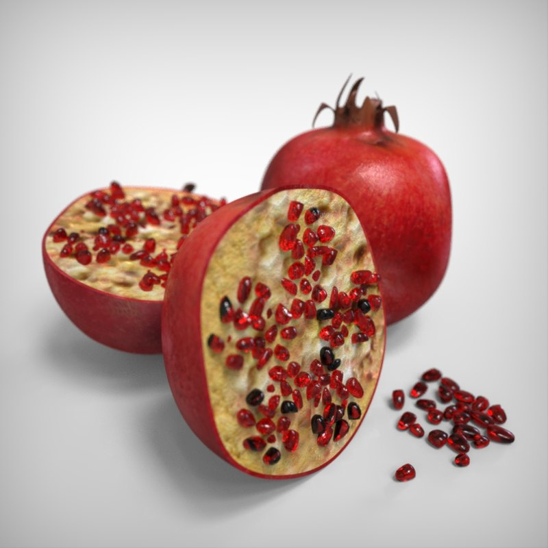 realistic pomegranate 3D model