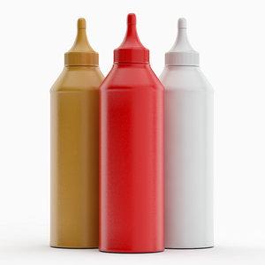 3D sauce bottles model