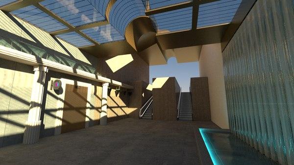 3D train station components