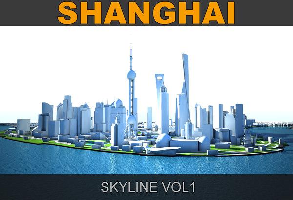 3D shanghai skyline