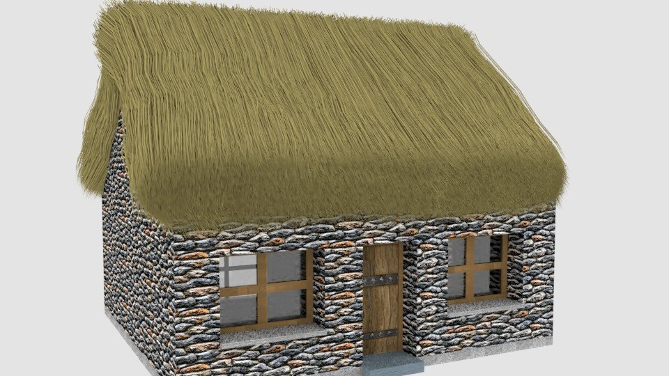 3D model small thatched cottage