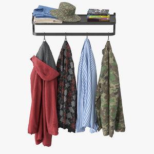 3D model wall coat rack