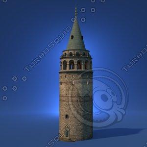 3D galata tower istanbul