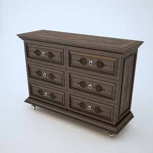 3D oriental chest drawers model