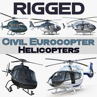 3D rigged civil eurocopter helicopters