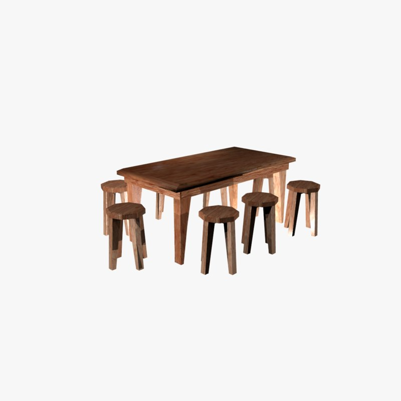 3D wooden table stools model