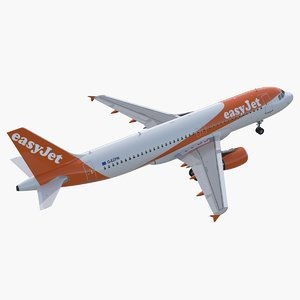 3D airbus a320 easyjet airline model